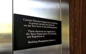 custom safety sign for elevator